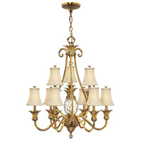 Plantation 10 Light 33 inch Burnished Brass Foyer Chandelier Ceiling Light, 2 Tier