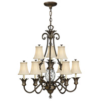 Plantation 10 Light 33 inch Pearl Bronze Foyer Chandelier Ceiling Light, 2 Tier
