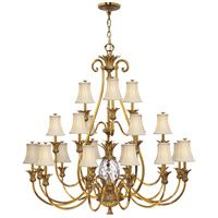 Plantation 22 Light 56 inch Burnished Brass Foyer Chandelier Ceiling Light, 3 Tier
