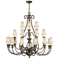 Plantation 22 Light 56 inch Pearl Bronze Foyer Chandelier Ceiling Light, 3 Tier