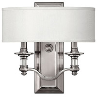 Hinkley 4900BN Sussex 2 Light 14 inch Brushed Nickel ADA Sconce Wall Light in Ivory Fabric Shade photo thumbnail