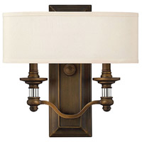 Hinkley 4900EZ Sussex 2 Light 14 inch English Bronze ADA Sconce Wall Light in Off-White Fabric Shade
