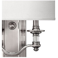 Hinkley 4900BN Sussex 2 Light 14 inch Brushed Nickel ADA Sconce Wall Light in Ivory Fabric Shade alternative photo thumbnail
