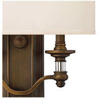 Hinkley 4900EZ Sussex 2 Light 14 inch English Bronze ADA Sconce Wall Light in Off-White Fabric Shade alternative photo thumbnail