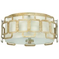 Sabina 3 Light 15 inch Silver Leaf Flush Mount Ceiling Light, Eggshell Silk Shade