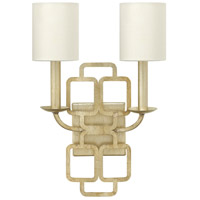 Hinkley 4912SL Sabina 2 Light 12 inch Silver Leaf ADA Sconce Wall Light, Eggshell Silk Shade