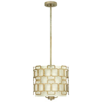 Hinkley 4913SL Sabina 3 Light 15 inch Silver Leaf Foyer Pendant Ceiling Light, Eggshell Silk Shade