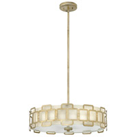 Sabina 4 Light 23 inch Silver Leaf Foyer Pendant Ceiling Light, Eggshell Silk Shade