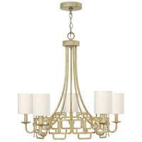 Hinkley 4915SL Sabina 5 Light 28 inch Silver Leaf Chandelier Ceiling Light, Eggshell Silk Shade