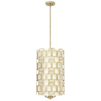 Hinkley 4916SL Sabina 6 Light 15 inch Silver Leaf Foyer Chandelier Ceiling Light, Eggshell Silk Shade