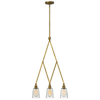 Hinkley 4933HB Gatsby 3 Light 20 inch Heritage Brass Linear Chandelier Ceiling Light, Clear Glass
