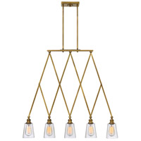 Gatsby 5 Light 36 inch Heritage Brass Linear Chandelier Ceiling Light, Clear Glass