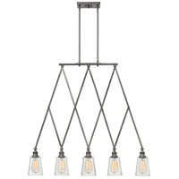 Hinkley 4935PL Gatsby 5 Light 36 inch Polished Antique Nickel Linear Chandelier Ceiling Light, Clear Glass