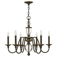 Eleanor 6 Light 28 inch Light Oiled Bronze Chandelier Ceiling Light