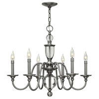 Hinkley 4956PL Eleanor 6 Light 27 inch Polished Antique Nickel Chandelier Ceiling Light Solid Crystal Elements
