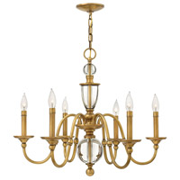 Eleanor 6 Light 28 inch Heritage Brass Chandelier Ceiling Light