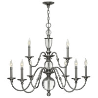 Hinkley 4958PL Eleanor 9 Light 35 inch Polished Antique Nickel Foyer Chandelier Ceiling Light, Solid Crystal Elements