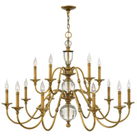 Eleanor 15 Light 44 inch Heritage Brass Foyer Chandelier Ceiling Light