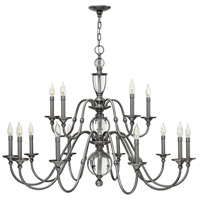Hinkley 4959PL Eleanor 15 Light 44 inch Polished Antique Nickel Foyer Chandelier Ceiling Light, Solid Crystal Elements