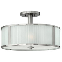 Midtown 3 Light 18 inch Brushed Nickel Semi Flush Ceiling Light