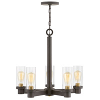 Hinkley 4975OZ Midtown 5 Light 24 inch Oil Rubbed Bronze/Heritage Brass Chandelier Ceiling Light