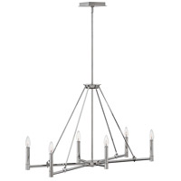 Hinkley 4986PN Buchanan 6 Light 34 inch Polished Nickel Linear Chandelier Ceiling Light, Oval