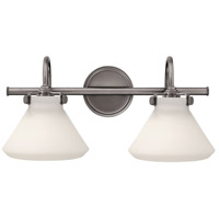 Hinkley 50020AN Congress 2 Light 19 inch Antique Nickel Bath Light Wall Light, Retro Glass