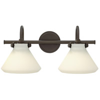 Hinkley 50020OZ Congress 2 Light 19 inch Oil Rubbed Bronze Bath Light Wall Light, Retro Glass