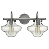Hinkley 50021AN Congress 2 Light 20 inch Antique Nickel Bath Light Wall Light, Retro Glass