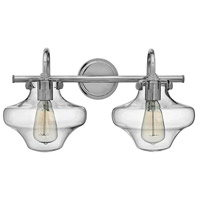 Hinkley 50021CM Congress 2 Light 20 inch Chrome Bath Wall Light, Retro Glass