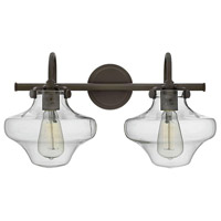 Hinkley 50021OZ Congress 2 Light 20 inch Oil Rubbed Bronze Bath Light Wall Light, Retro Glass