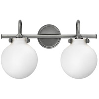 Hinkley 50023AN Congress 2 Light 19 inch Antique Nickel Bath Light Wall Light, Retro Glass
