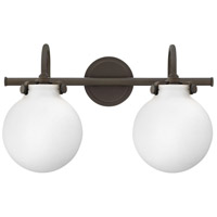 Hinkley 50023OZ Congress 2 Light 19 inch Oil Rubbed Bronze Bath Light Wall Light, Retro Glass