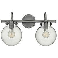 Hinkley 50024AN Congress 2 Light 19 inch Antique Nickel Bath Light Wall Light, Retro Glass