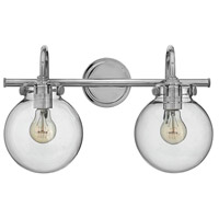 Hinkley 50024CM Congress 2 Light 19 inch Chrome Bath Wall Light, Retro Glass
