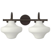 Hinkley 50025OZ Congress 2 Light 20 inch Oil Rubbed Bronze Bath Wall Light, Retro Glass