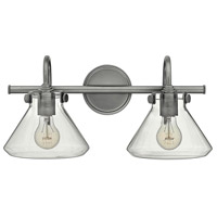 Congress 2 Light 19 inch Antique Nickel Bath Light Wall Light, Retro Glass