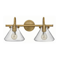 Hinkley 50026BC Congress 2 Light 19 inch Brushed Caramel Bath Wall Light, Retro Glass
