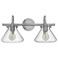 Hinkley 50026CM Congress 2 Light 19 inch Chrome Bath Wall Light, Retro Glass