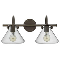 Hinkley 50026OZ Congress 2 Light 19 inch Oil Rubbed Bronze Bath Light Wall Light, Retro Glass