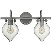 Hinkley 50027AN Congress 2 Light 19 inch Antique Nickel Bath Light Wall Light, Retro Glass