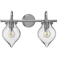 Hinkley 50027CM Congress 2 Light 19 inch Chrome Bath Light Wall Light, Retro Glass