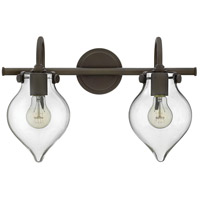 Hinkley 50027OZ Congress 2 Light 19 inch Oil Rubbed Bronze Bath Wall Light, Retro Glass