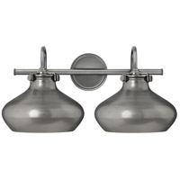 Hinkley 50028AN Congress 2 Light 21 inch Antique Nickel Bath Wall Light, Retro Glass