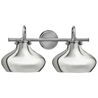 Hinkley 50028CM Congress 2 Light 21 inch Chrome Bath Wall Light, Retro Glass