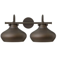 Hinkley 50028OZ Congress 2 Light 21 inch Oil Rubbed Bronze Bath Light Wall Light, Retro Glass photo thumbnail
