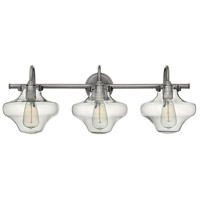 Hinkley 50031AN Congress 3 Light 30 inch Antique Nickel Bath Light Wall Light, Retro Glass