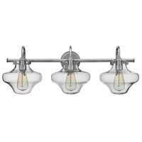 Hinkley 50031CM Congress 3 Light 30 inch Chrome Bath Wall Light, Retro Glass