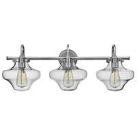 Hinkley 50031CM Congress 3 Light 30 inch Chrome Bath Light Wall Light Retro Glass
