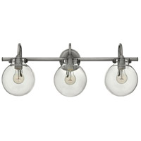 Hinkley 50034AN Congress 3 Light 30 inch Antique Nickel Bath Wall Light, Retro Glass